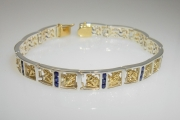 Sterling Silver and 14k Gold Anchor Reef Bracelet with Sapphires