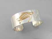 Sterling Silver and 14k Leatherback Turtle Cuff