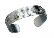 Sterling Silver and 14k Gold Sea Cuff