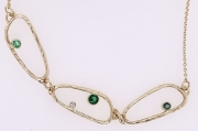 14k Gold Sea Grass Tourmaline and Diamond Necklace