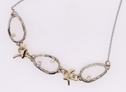 14k Gold Diamond Sea Grass Link Necklace