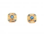18k gold aquamarine stud earrings