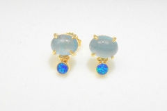Aquamarine and Opal Stud Earrings