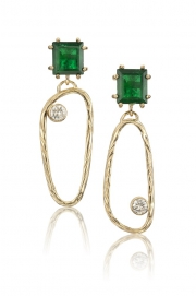 Rare Emerald and 14k Gold Sea Grass Link Drop Earrings
