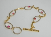 14k White and Yellow Gold Sea Grass Bracelet with Pink Sapphires