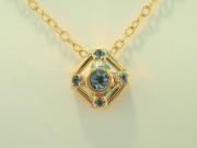 14k Gold Aquamarine Pendant and chain