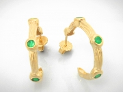 14k Gold Sea Grass Hoops with Emeralds