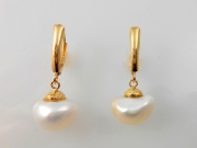 14k Gold Sea Grass Baroque Pearl Drops