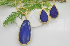 14k gold sea grass lapis earrings and pendant 1000