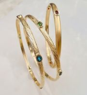 14k Gold Sea Grass Bangle Bracelets