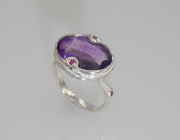 Sterling Silver Sea Grass Amethyst Ring