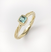 14k Gold Sea Grass  Blue Green Tourmaline Ring