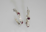 Sterling Silver Sea Grass and Ruby Hoops