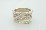 Sterling Silver Sea Grass Stackable Stone Rings