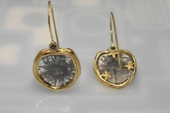 14k Gold Sea Grass and Diamond Starburst Slices