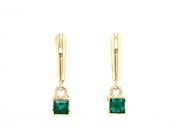 14k gold faceted emerald drop earrings
