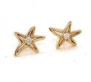 18k gold starfish diamond stud earrings
