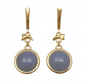 14k Gold Coral Chacedony Drops