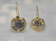 14k Gold Sea Grass and Diamond Starburst Slices