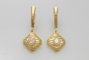 14k Gold Sea Grass and Diamond Drop Earrings