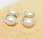 Ss & 14k Crabs with Pearls