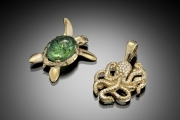 14k Gold Octopus and Turtle Pendants