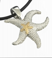 Sterling Silver and 14k Gold Sea Star Pendant