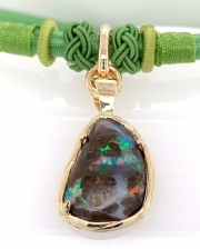 Boulder Opal Pendant on Knotted Silken Cord