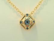 14k Gold Aquamarine Pendant and Chain