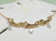 14k gold coral diamond necklace