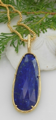 14k Gold Sea Grass Lapis Lazuli Pendant