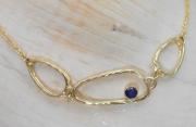 14k Gold Sea Grass Sapphire Necklace