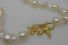 18k Gold Starfish Pendant and Baroque Pearls