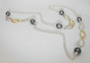 Sterling Silver and 14k Sea Grass Link and Tahitian Pearl Chain