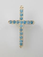 Sterling Silver Blue Topaz Cross