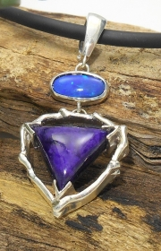 Ss Coral Sugilite and Opal Pendant
