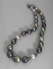 Muticolored Tahitian Strand of South Sea Pearls