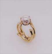 14k gold coral ring with Akoya pearl