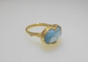 14k Sea Grass and Aquamarine Ring