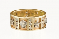 14k Gold Nautical Ring with Diamond N