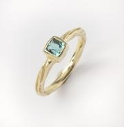 14k Gold Blue Green Tourmaline Ring