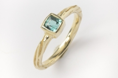 14k Gold Blue Green Tourmaline Ring