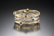 14k Gold Sea Grass Stone Stackable Rings