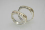 Sterling Silver and 14k Gold 2 Tone Bands