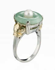 Sterling Silver and 14k Gold Jade Ring
