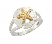 Sterling Silver and 14k Gold Sand Dollar Ring