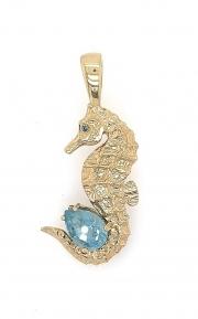 14k gold seahorse enhancer with aquamarine