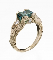 14k Gold Seahorse Ring with Square Tourmaline and Diamonds