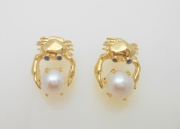 14k Gold Crab and Pearl Earrings