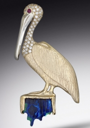 14k Gold Pelican Pendant and Brooch